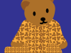 Bear wearing bear pattern pajamas.