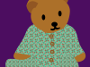 Bear wearing wren pattern pajamas
